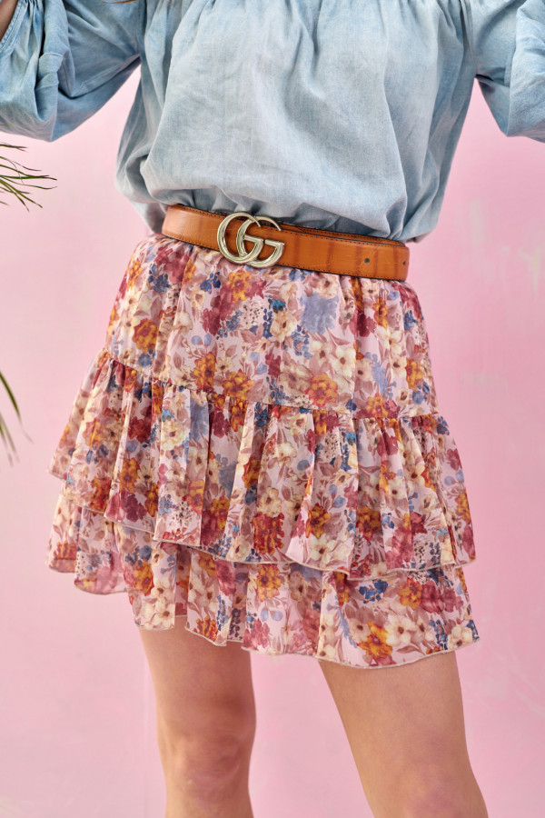 Różowa kwiatowa rozkloszowana spódnica z falbankami mini Fanny