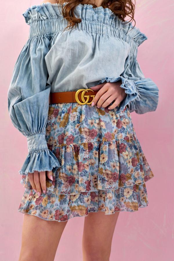 Niebieska kwiatowa rozkloszowana spódnica z falbankami mini Fanny