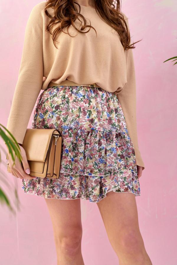 Kolorowa kwiatowa rozkloszowana spódnica z falbankami mini Fanny