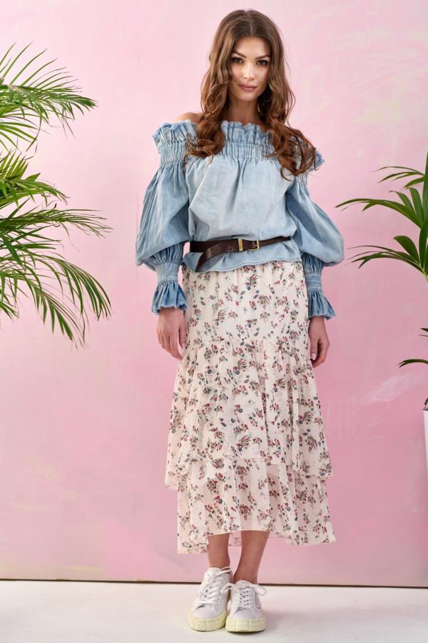 Beżowa kwiatowa asymetryczna rozkloszowana spódnica z falbankami midi Carole