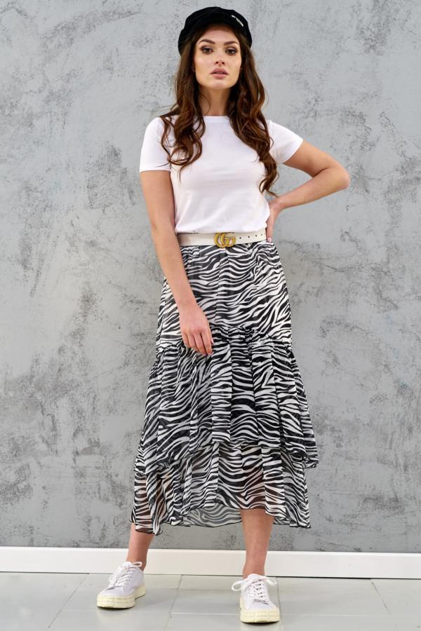Zeberkowa asymetryczna rozkloszowana spódnica z falbankami midi Carole