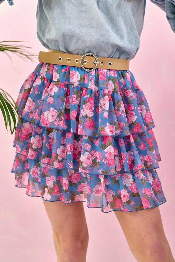 Niebiesko-różowa kwiatowa rozkloszowana spódnica z falbankami mini Fortune