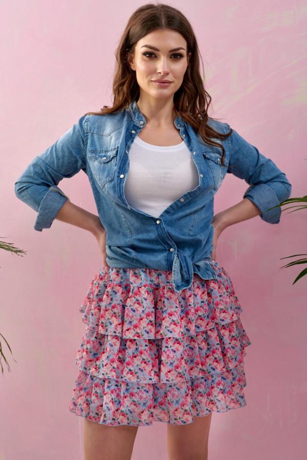 Różowo-niebieska kwiatowa rozkloszowana spódnica z falbankami mini Fortune