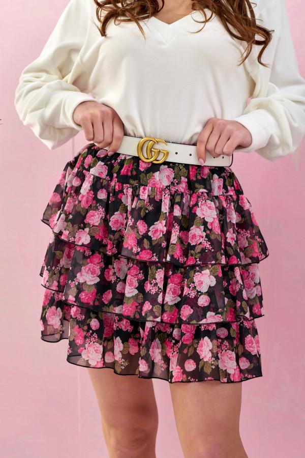 Czarno-różowa kwiatowa rozkloszowana spódnica z falbankami mini Fortune