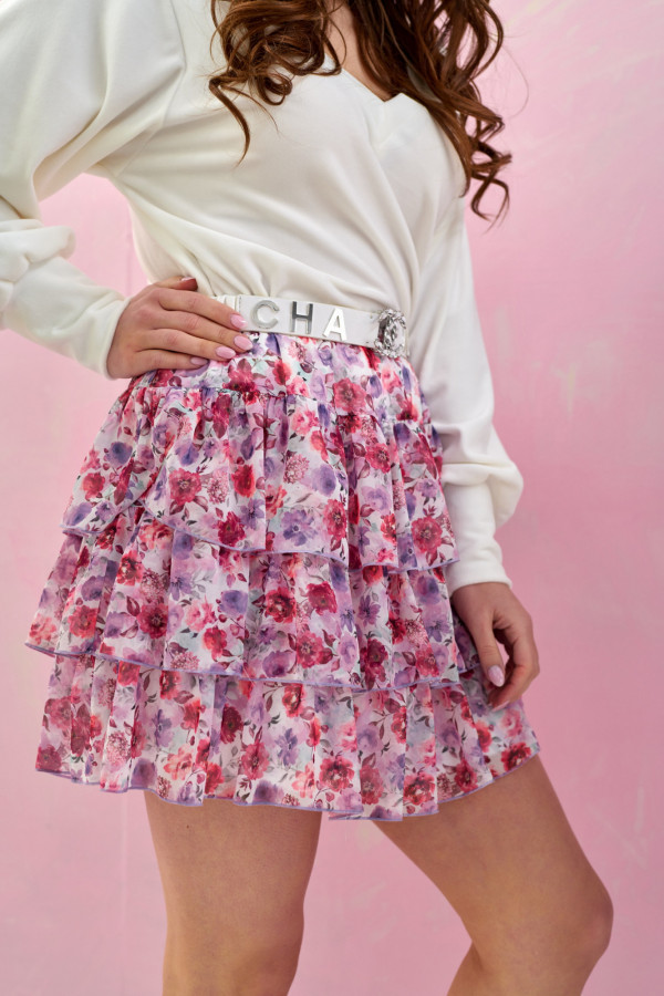 Fioletowo-różowa kwiatowa rozkloszowana spódnica z falbankami mini Fortune