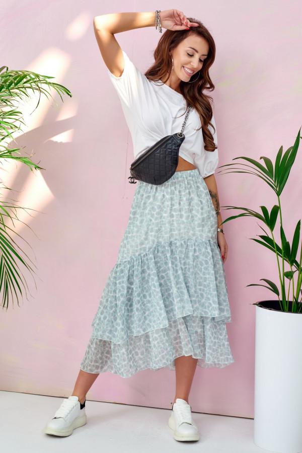 Miętowa asymetryczna rozkloszowana spódnica z falbankami midi Carole
