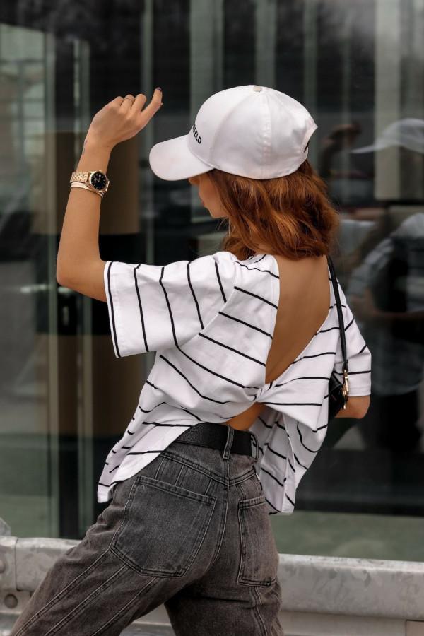 Biało-czarny t-shirt w paski z wiązaniem na plecach Francis