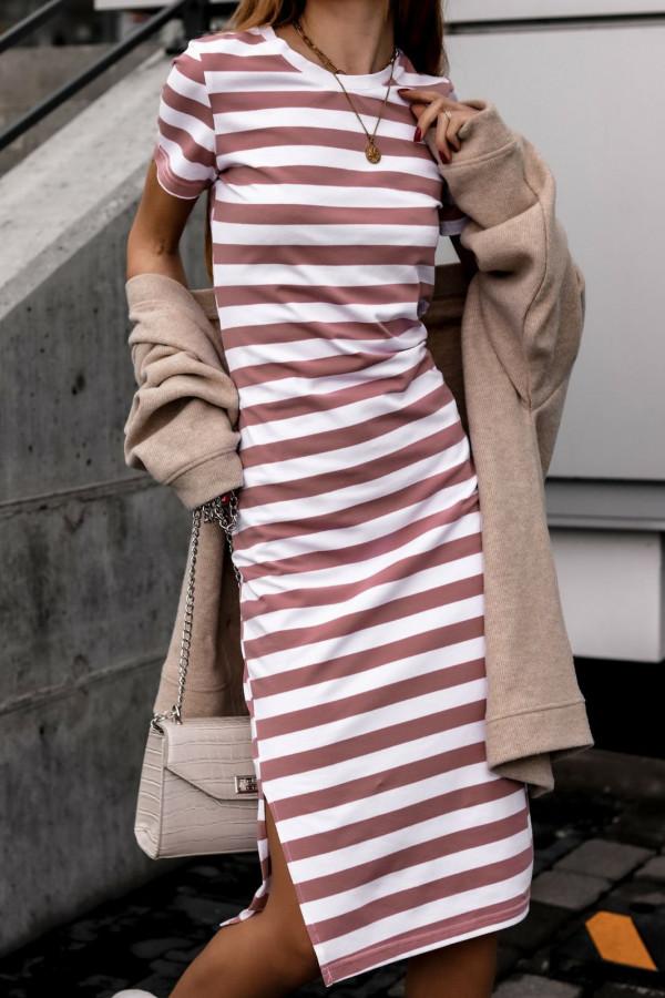 Biało-różowa sukienka w paski midi Joanne