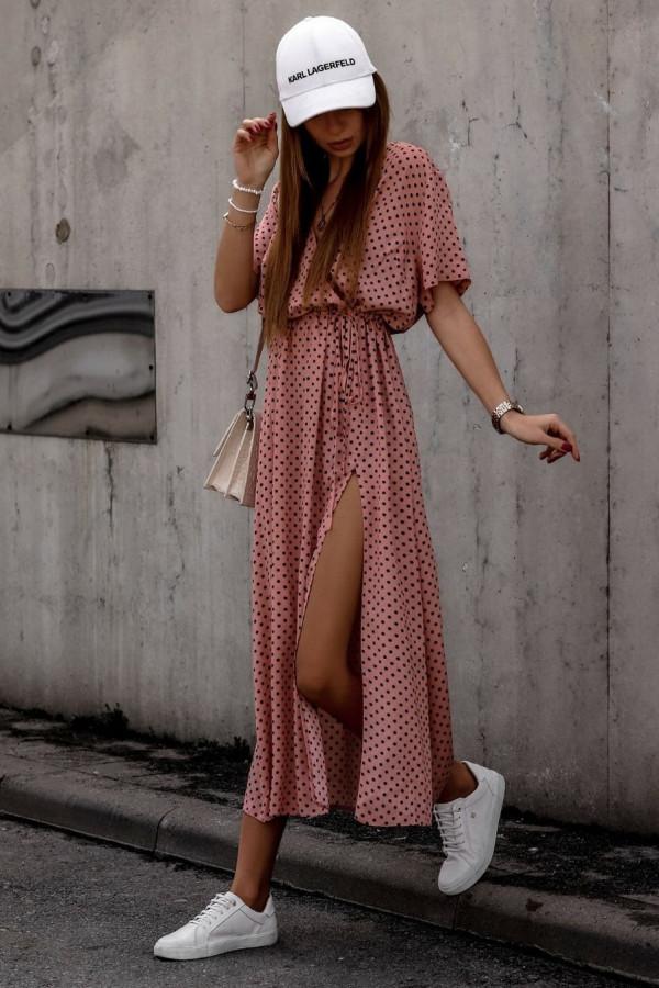 Brudno różowa sukienka w kropki maxi Anna