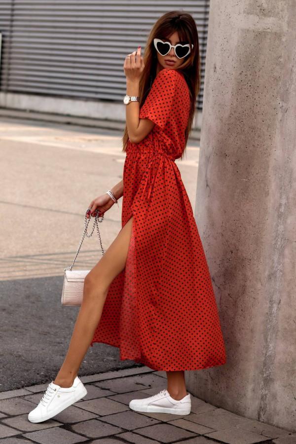 Czerwona sukienka w kropki maxi Anna