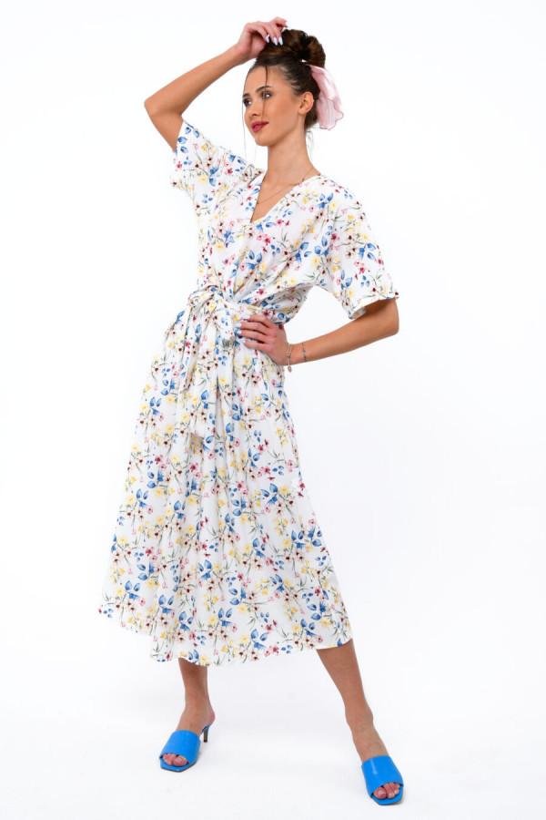 Biała kwiatowa sukienka midi V-Neck Alice