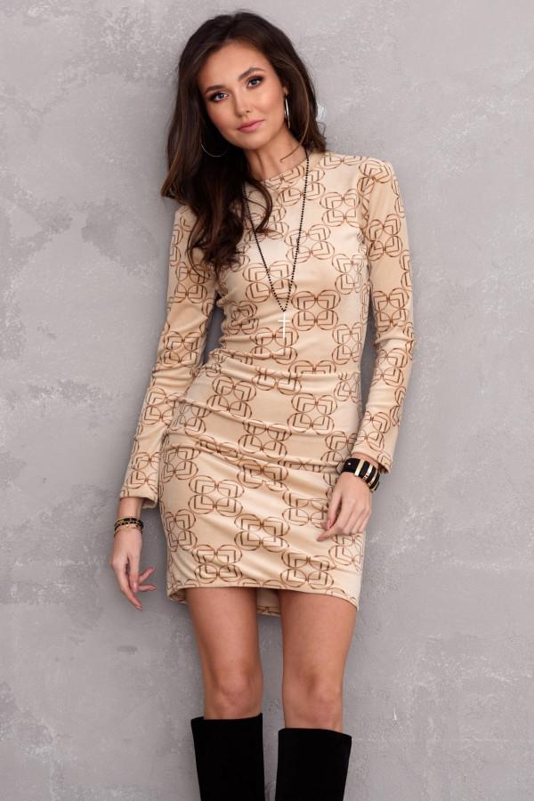Beżowa welurowa sukienka dopasowana O-Neck we wzory Claude