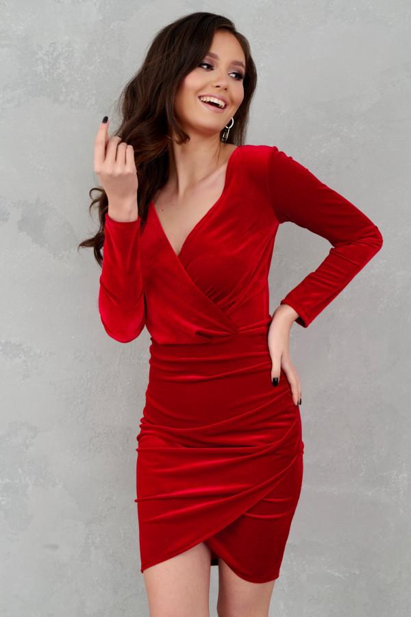 Czerwona sukienka przekładana V-Neck Doriane