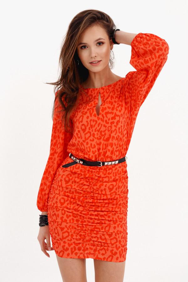 Pomarańczowa dopasowana sukienka z bufkami w panterkę Jeanette