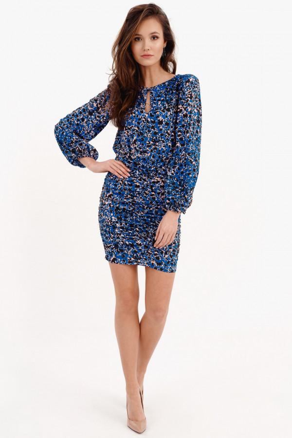 Ciemnoniebieska dopasowana sukienka z bufkami we wzory Jeanette