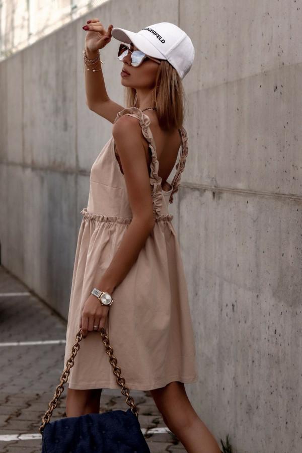 Beżowa sukienka na ramiączkach z falbankami V-Neck Lara