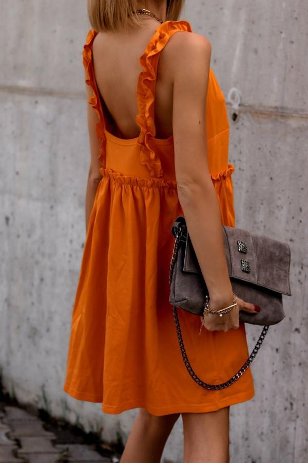 Pomarańczowa sukienka na ramiączkach z falbankami V-Neck Lara