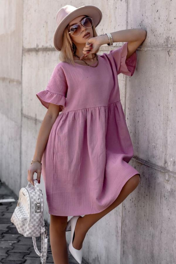 Różowa muślinowa sukienka trapezowa z falbankami Lilou