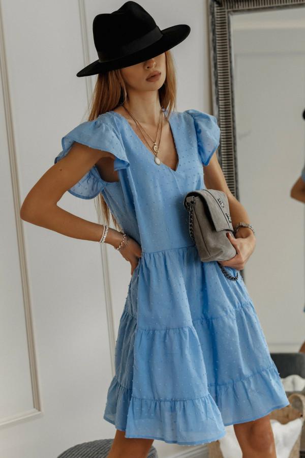 Niebieska rozkloszowana sukienka z falbankami w kropki Linda