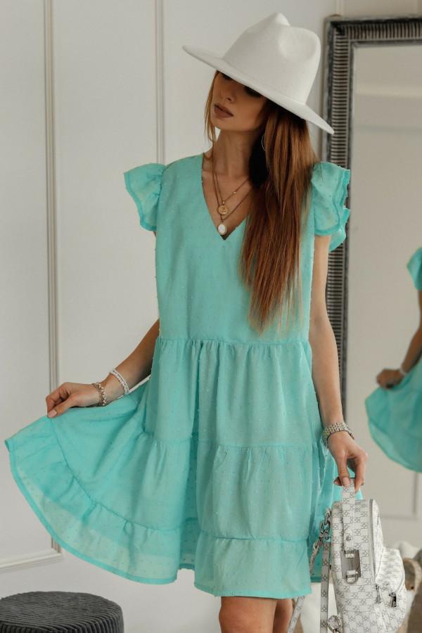 Miętowa rozkloszowana sukienka z falbankami w kropki Linda