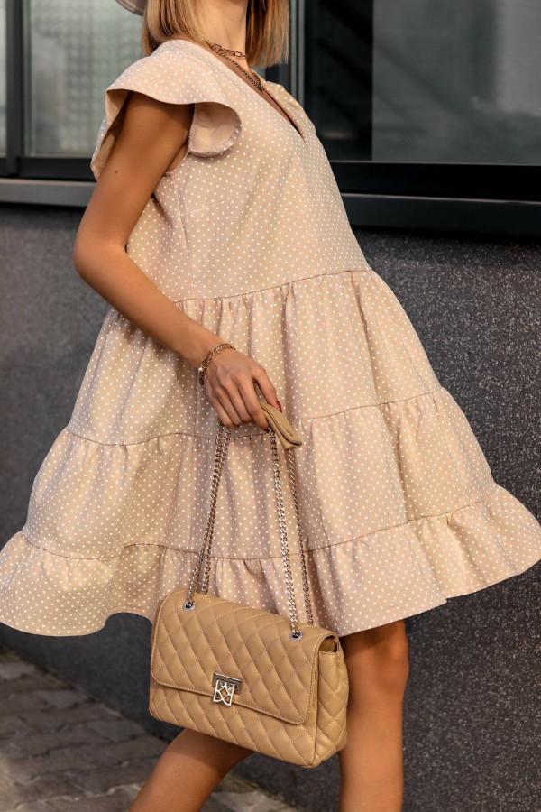 Beżowa rozkloszowana sukienka z falbankami V-Neck w groszki Lucille
