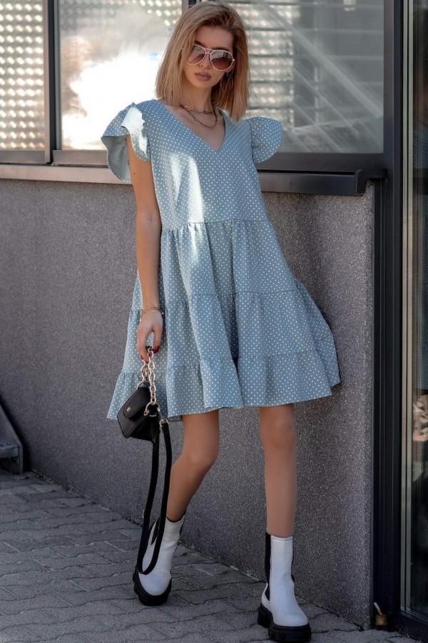 Niebieska rozkloszowana sukienka z falbankami V-Neck w groszki Lucille