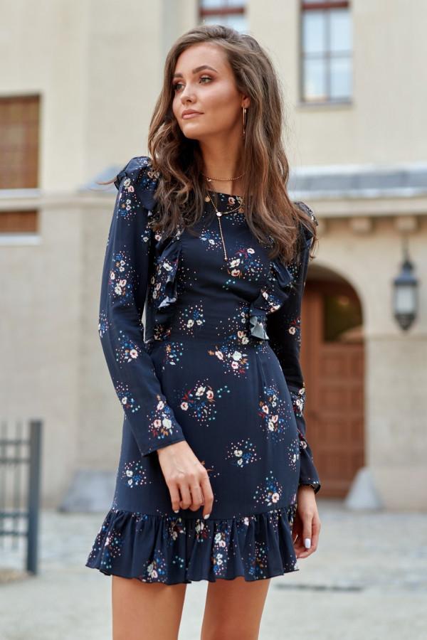 Granatowa kwiatowa klasyczna sukienka z falbankami Louise