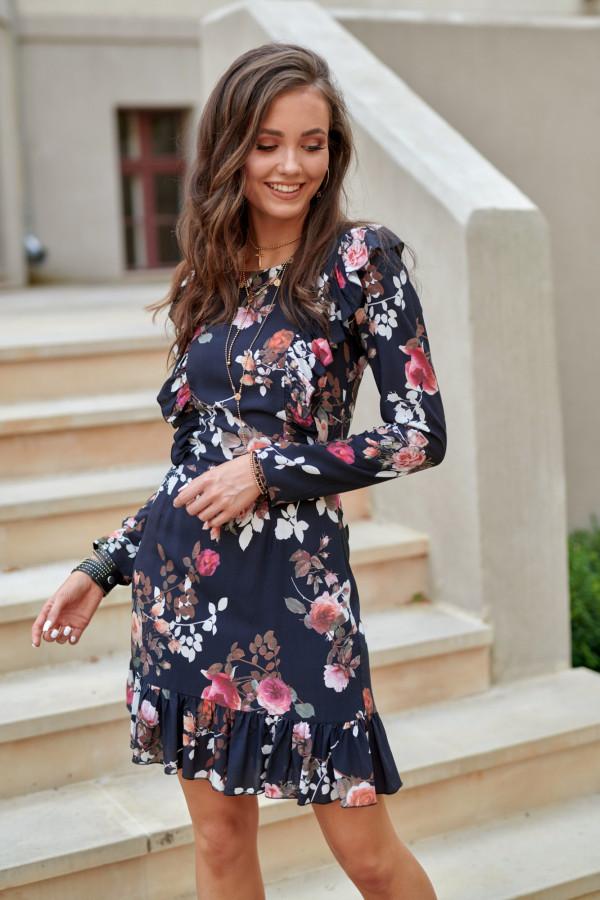 Granatowo-różowa kwiatowa klasyczna sukienka z falbankami Louise