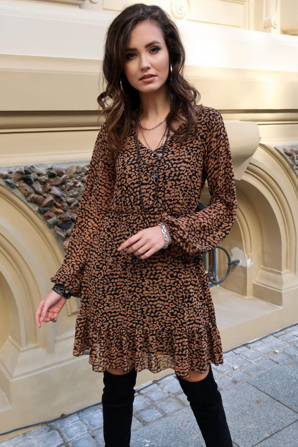 Czarno-brązowa panterkowa szyfonowa sukienka rozkloszowana z falbankami Louna