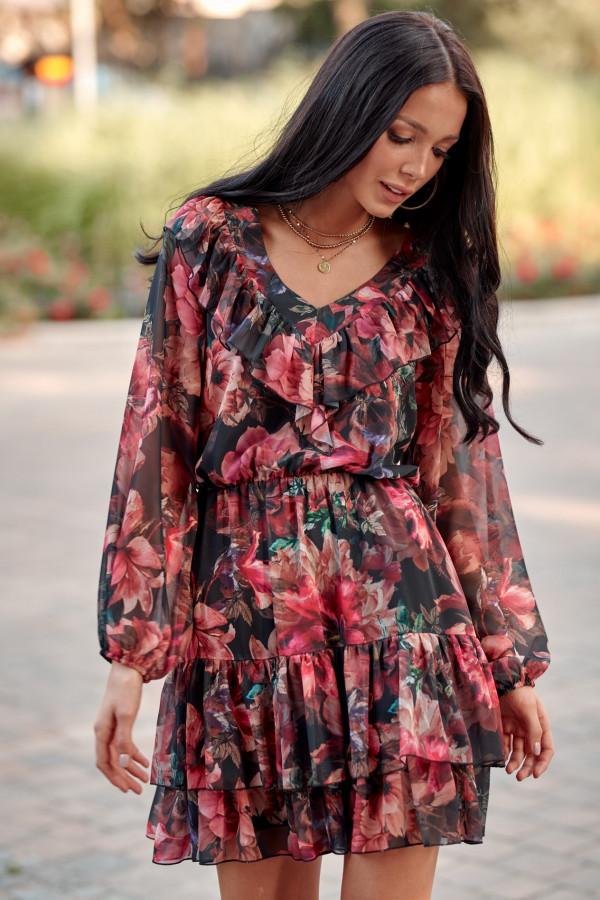 Czarno-różowa kwiatowa sukienka rozkloszowana z falbankami V-Neck Louane