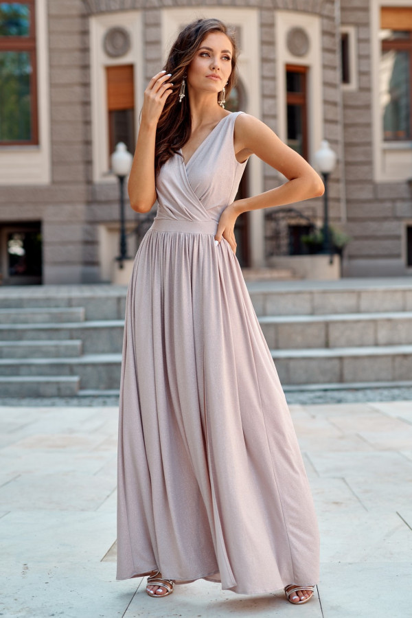 Beżowa brokatowa sukienka wieczorowa maxi Micheline