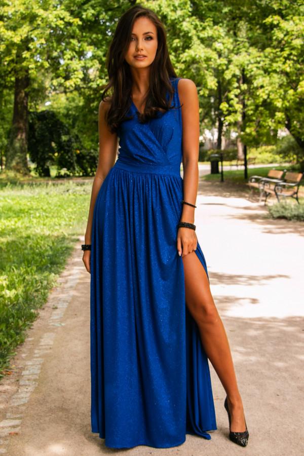 Chabrowa brokatowa sukienka wieczorowa maxi Micheline