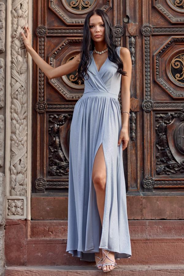 Jasnoniebieska brokatowa sukienka wieczorowa maxi Micheline