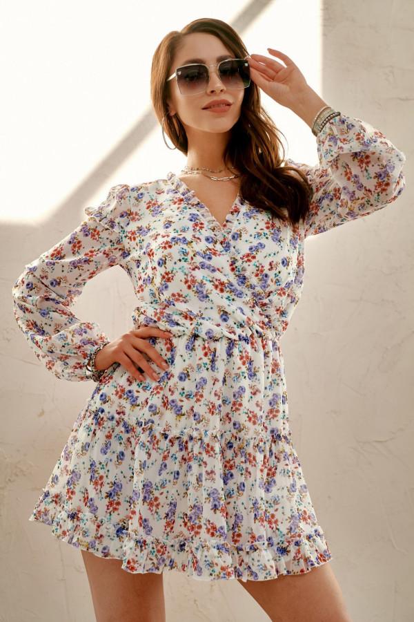 Ecru kwiatowa rozkloszowana sukienka z falbankami Narcisse