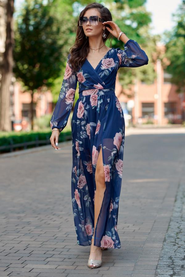 Granatowa kwiatowa sukienka przekładana maxi V-Neck Ninette