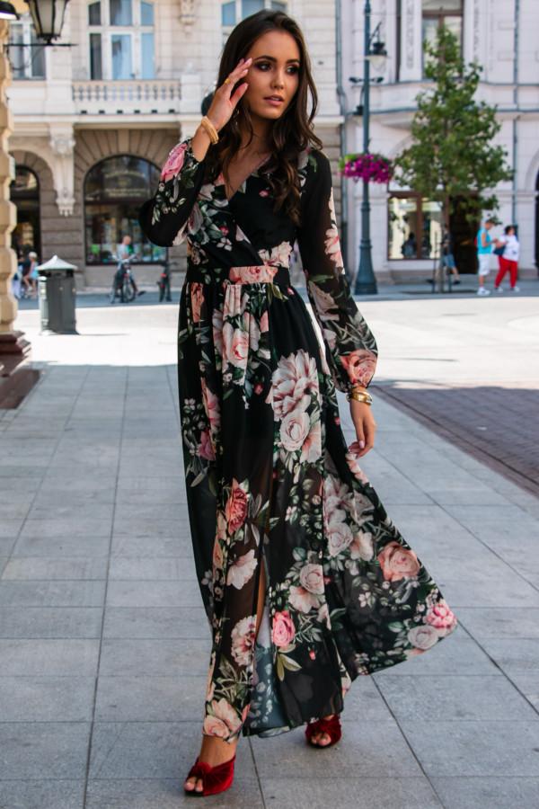Czarna kwiatowa sukienka przekładana maxi V-Neck Ninette