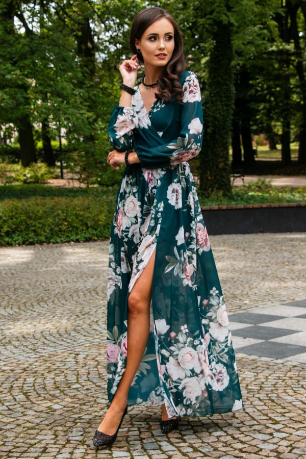Butelkowo zielona kwiatowa sukienka przekładana maxi V-Neck Ninette