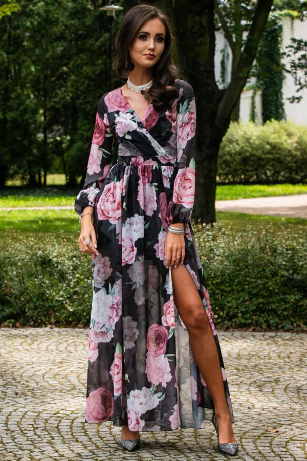 Czarno-różowa kwiatowa sukienka przekładana maxi V-Neck Ninette