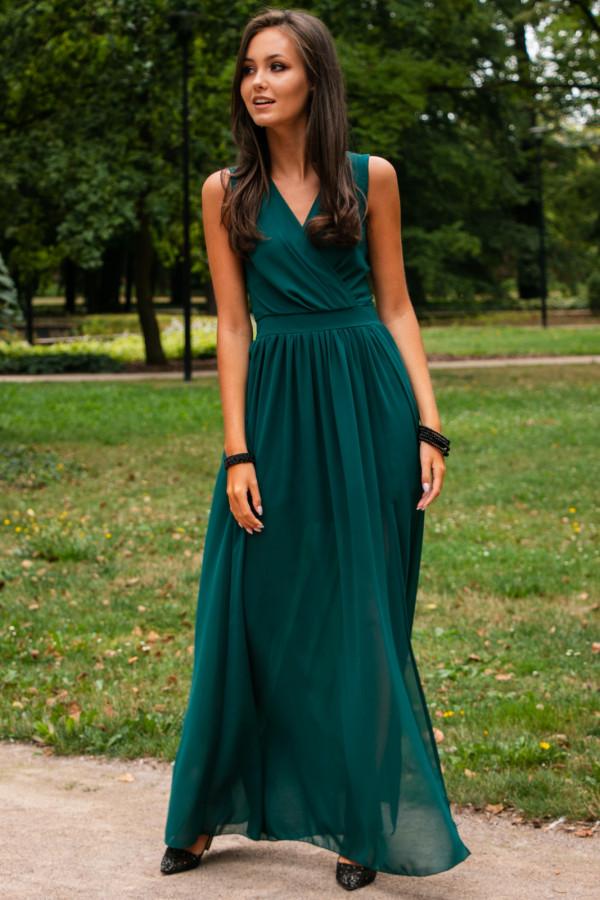 Butelkowo zielona sukienka wieczorowa kopertowa bez rękawów maxi Angeline