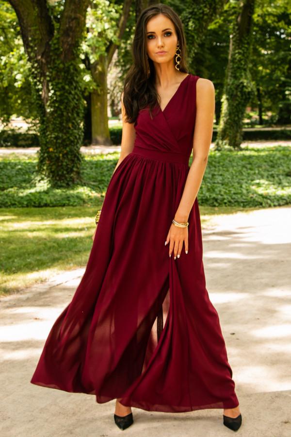Bordowa sukienka wieczorowa kopertowa bez rękawów maxi Angeline
