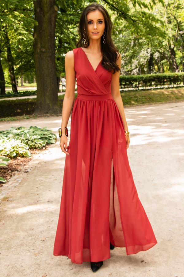Czerwona sukienka wieczorowa kopertowa bez rękawów maxi Angeline