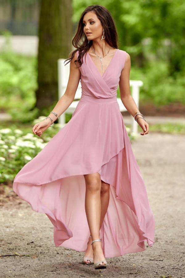 Jasnoróżowa asymetryczna sukienka wieczorowa V-Neck maxi Annabelle