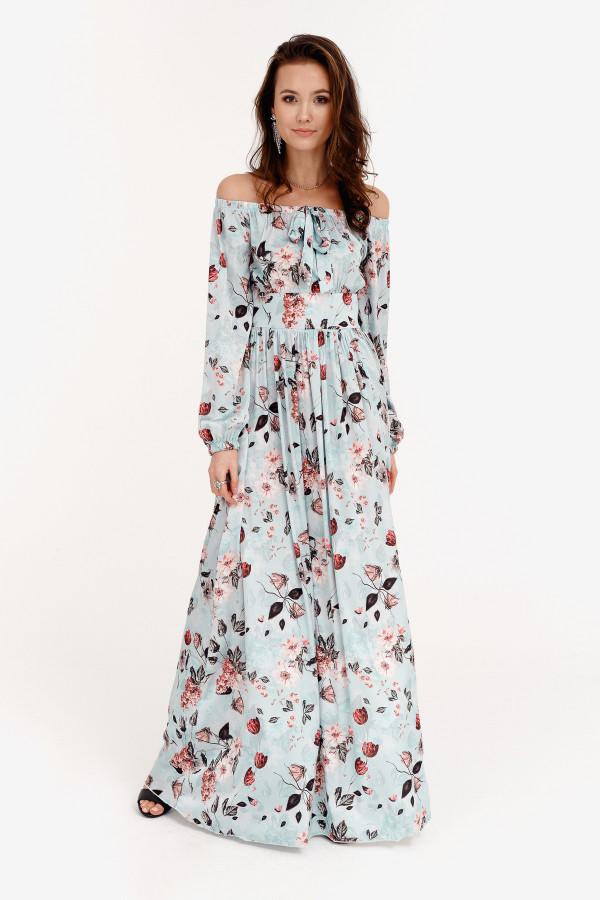 Jasnoniebieska kwiatowa sukienka hiszpanka z bufiastym rękawem maxi Ariane
