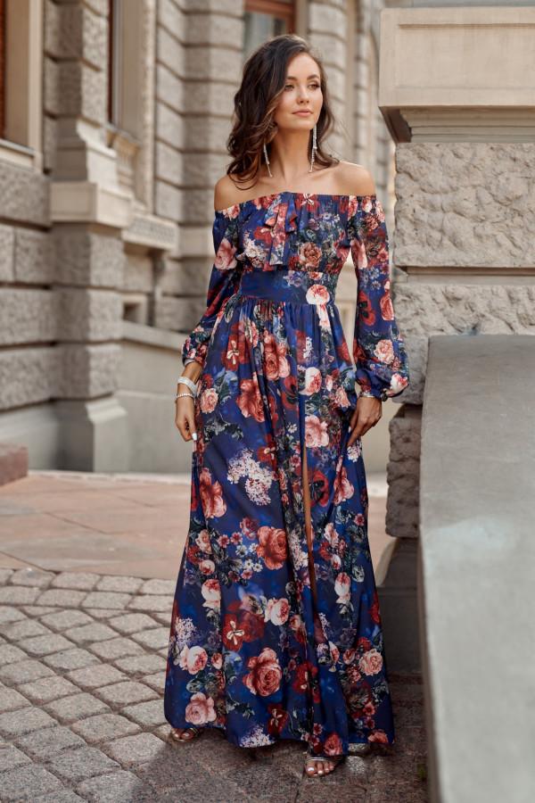 Niebieska kwiatowa sukienka hiszpanka z bufiastym rękawem maxi Ariane