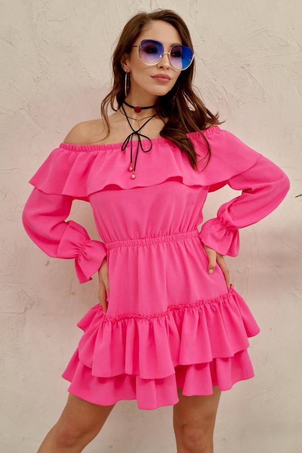 Różowa sukienka hiszpanka z falbankami Carmen