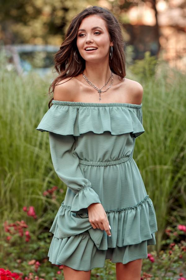 Khaki sukienka hiszpanka z falbankami Carmen