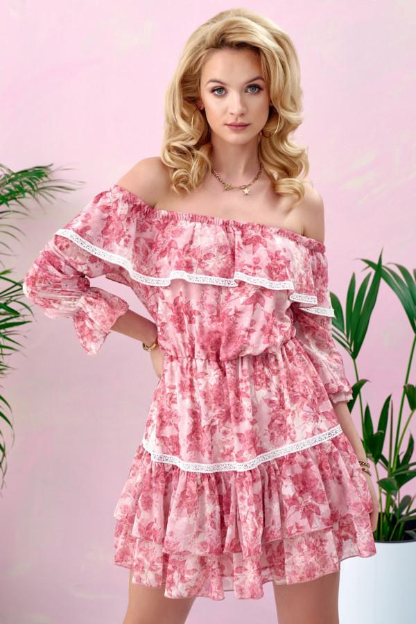 Różowa kwiatowa sukienka hiszpanka rozkloszowana z falbankami Axelle