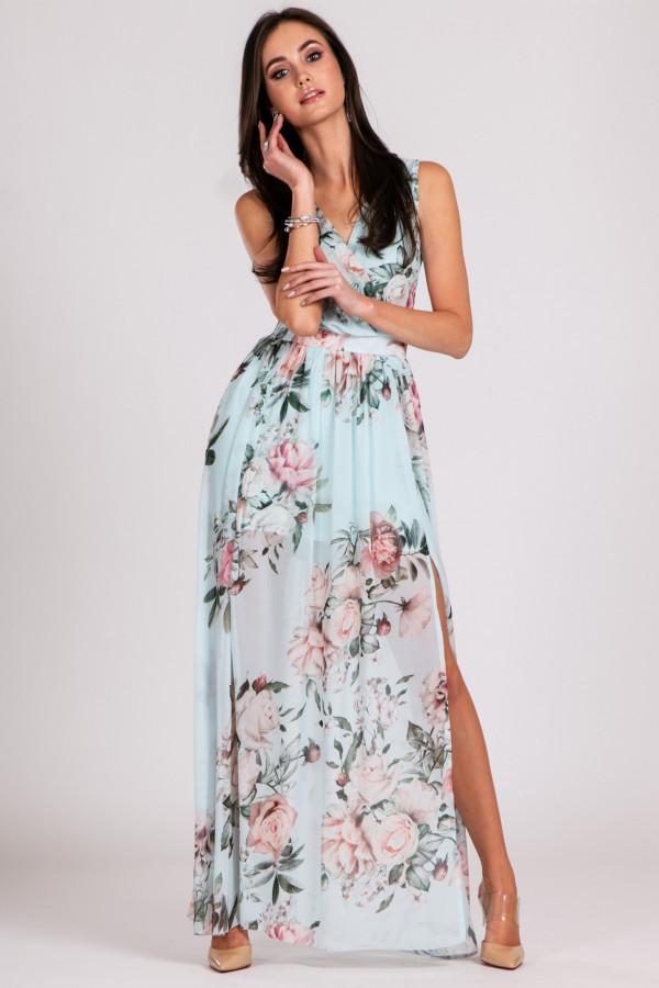 Jasnoniebieska kwiatowa sukienka V-Neck maxi Christelle