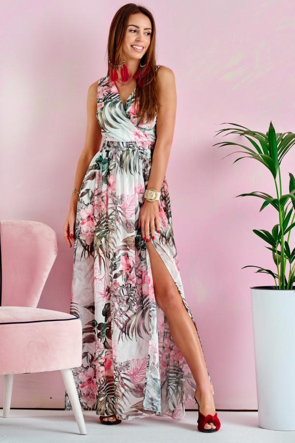 Zielono-różowa kwiatowa sukienka V-Neck maxi Christelle