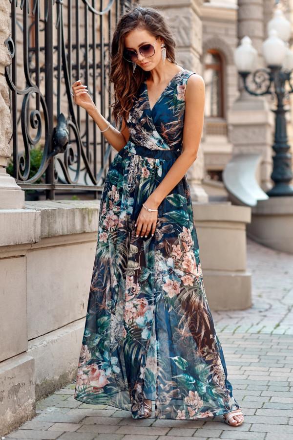 Ciemnoniebieska kwiatowa sukienka V-Neck maxi Christelle